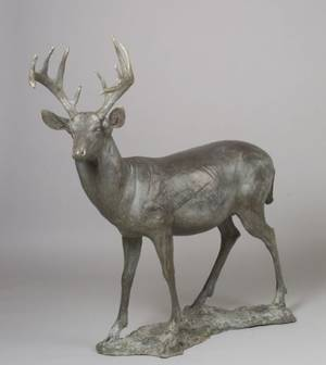 Forest Hart Bronze Standing White Tail Deer