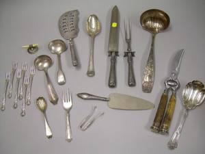 Group of Fifteen Assorted Silver Plated Flatware and Three Sterling and Coin Silver Flatware Items