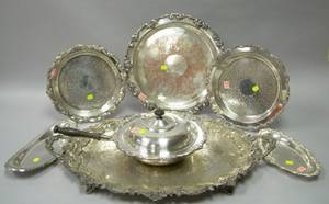 Six Assorted Silver Plated Serving Trays and a Covered Chafing Dish