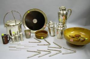 Eight Pieces of Silver Plated Barware and a Sterling Silver Mounted Tray