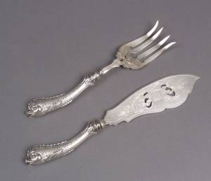 German 800 Fine Silver Fish Serving Set with Dolphin Handles