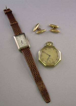Two Art Deco 14kt Gold Watches and a Pair of Antique 15kt Gold Cuff Links