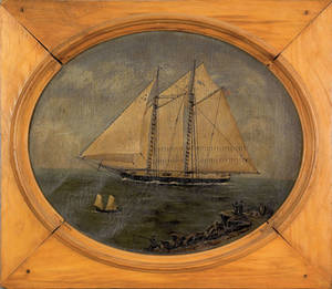 New England oil on canvas nautical painting 19th c