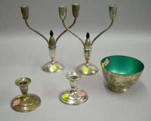 Pair of Gorham Sterling Silver Convertible Candelabra a Pair of Sterling Candleholders and a Towle Enameled S