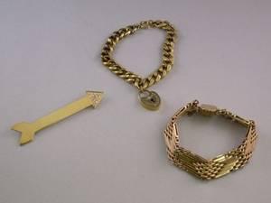 Antique 14kt Gold Bracelet Gilt Padlock Bracelet and a 14kt Gold and Diamond Arrow Brooch