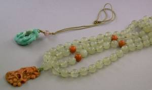 Jade and Coral Bead Pendant Necklace and a Carved Turquoise Pendant Necklace
