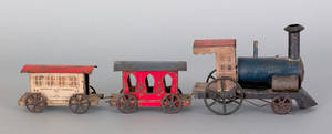 American tin train set late 19th c