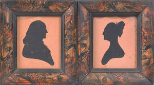 Pair of Peales Museum hollowcut silhouettes early 19th c