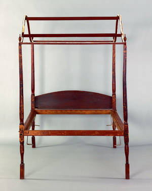 New England painted tall post bed ca 1780