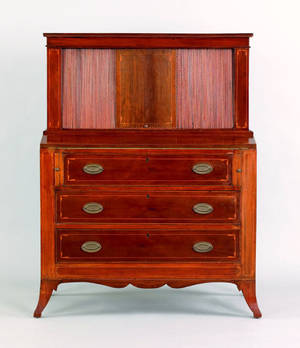 New England Federal mahogany tambour desk ca 1815