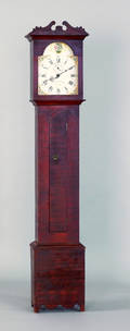 New York painted pine tall case clock ca 1825