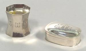 Arthur Stone Snuff Box and Unmarked Napkin Ring