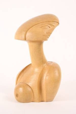 Modern Carved Wood Figural Bust Sculpture Signed