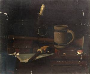 John Frederick Peto American 18541907 Still Life with Books and Pipe