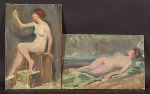 Emil Fuchs American 18661929 Lot of Five Studies of Female Nudes