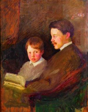Attributed to Gardner Cox American 19061988 Lot of Two Reading with Father