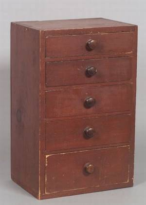 Small Redpainted Pine Cabinet