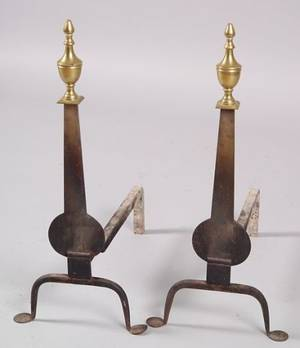 Pair of Brass and Iron Knifeblade Andirons