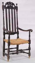 Blackpainted Carved Bannisterback Armchair
