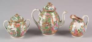 Three Rose Medallion Porcelain Tea Items