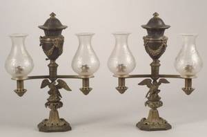 Pair of Brass Argand Lamps with Cut Glass Shades