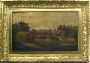 English oil on canvas country landscape