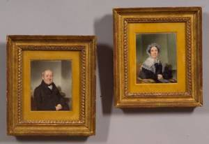 Thomas Seir Cummings American 1804  1894 Pair of Portrait Miniatures of Dr and Mrs Embury