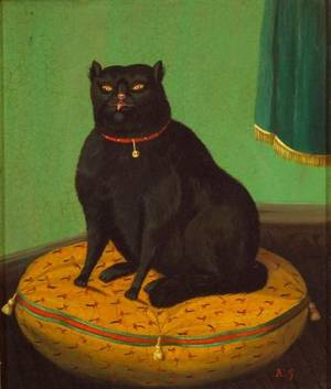 American School Portrait of a Black Cat on a Tasseled Pillow