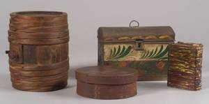 Small Wooden Keg Covered Oval Box Painted Tin Trunk and a Bennington Book Flask