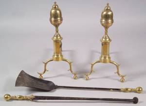 Pair of Brass and Iron Acorntop Andirons with Two Tools