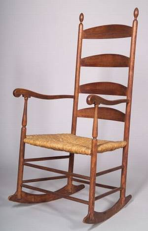 Shaker Brownstained Birch Armed Rocking Chair