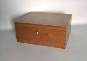 Mahogany lock box with compartmented interior