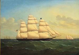 Attributed to James E Buttersworth AngloAmerican 18171894 Portrait of the Clipper Ship Game Cock
