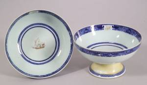 Two Chinese Export Porcelain Footed Bowls