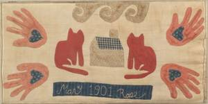 Pieced and Appliqued Cotton Folk Art Wall Hanging with Cats