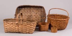 Five Assorted Woven Splint Baskets