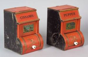 Two Painted Tin Spice Storage Bins