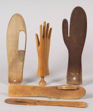 Group of Five Wooden Glove and Mitten Stretchers