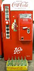 Vintage CocaCola Painted and Transfer Labeled Metal 10 Bottle Vending Machine