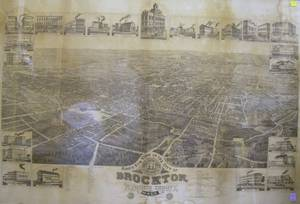 Framed Birds Eye View of the City of Brockton Plymouth County Mass Looking Southwest Lithograph