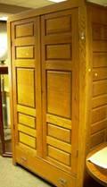 Late Victorian Oak Paneled TwoDoor Armoire