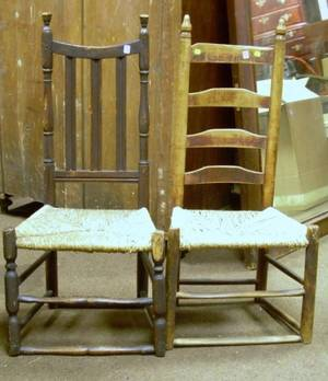 18th Century Brownstained Bannisterback Side Chair and a Ladderback Side Chair