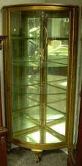 Late Victorian Gilt Oak Mirrored Bowfront Corner Cabinet