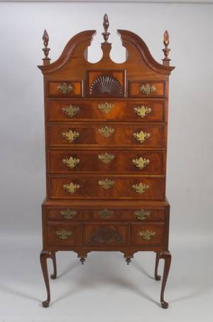 Queen Anne Style Inlaid Carved Mahogany and Mahogany Veneer Highboy