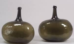 Two Green Blown Glass Demijohns