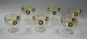 Set of Six Gilt and Enamel Decorated Colorless Glass Footed Bowls