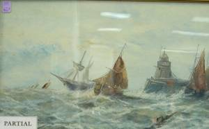 Pair of Framed Mixed Media Compositions of Marine Scenes