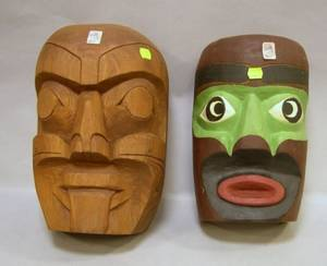 Two Late Native American Northwest Coast Carved and Painted Wooden Masks
