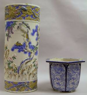 Japanese Porcelain Umbrella Stand and a Jardiniere