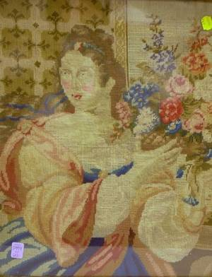 Framed Victorian Needlepoint Portrait of a Woman with Flowers